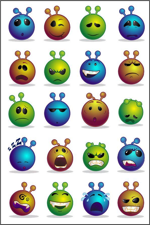 Emoticônes Smileys Clipart - Série de Visages Alien Bleu, Or et Vert - sur https://emoticones-et-cliparts-enserie.jimdo.com/ - Faces of Alien Blue, Gold and Green