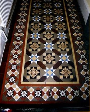 """From the1860s geometric and encaustic tiled floors started to appear in public buildings, churches and the more expensive Victorian villas. Their rise to fashion was assured by their use in such prestigious buildings as the Victoria and Albert Museum, and by the 1890s they had become an essential feature in the most ordinary Victorian terraced houses from Dover to Aberdeen."""