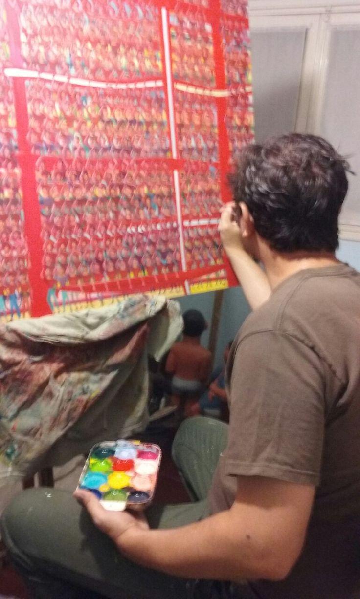 """Gran hinchada roja "", acrylic on canvas, 130 x 95 cm., year 2016 /17 Work in progress  De la Serie ""El hincha"" Detalle  #popainting #print #popmusic #popargentino  #pintor #sculptor #sculpture #myinspiration #painting #artrock #ronda #workinprogress #tatoo #art #ArtforsaLe #party #artwork #arteycolor #artango #arteargentino #popart #fiesta #independiente #elrojo #riverplate  #bosque #jazz #rockstar #nature #vangogh"
