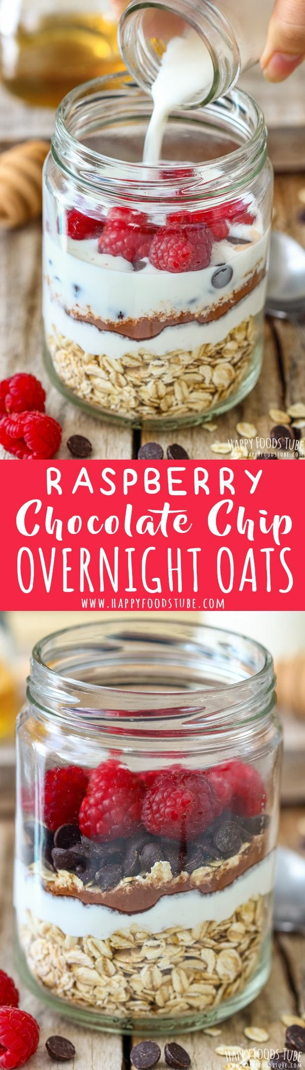Looking for hassle-free breakfast recipes? Then Raspberry Chocolate Chip Overnight Oats are for you. This nutrient and protein rich overnight oats can be enjoyed cold or warm. #overnightoats #oats #breakfast #raspberry #chocolatechips #recipe via @happyfoodstube