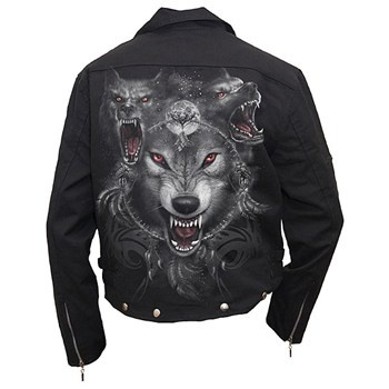 mens biker jacket wolf triad (black) - rockcollection.co.uk - $825nok e/ fortolling