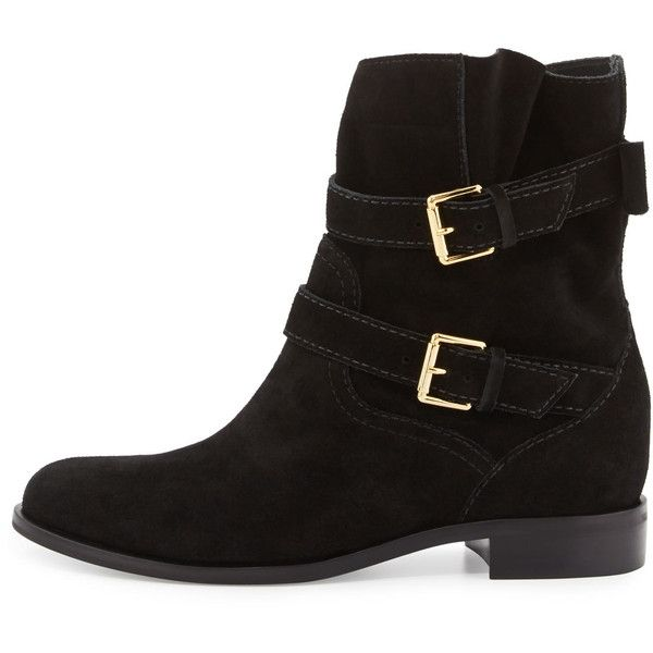 kate spade new york sabina suede buckle bootie (£280) ❤ liked on Polyvore featuring shoes, boots, ankle booties, ankle boots, black ankle booties, suede ankle boots, low heel ankle boots and flat black booties
