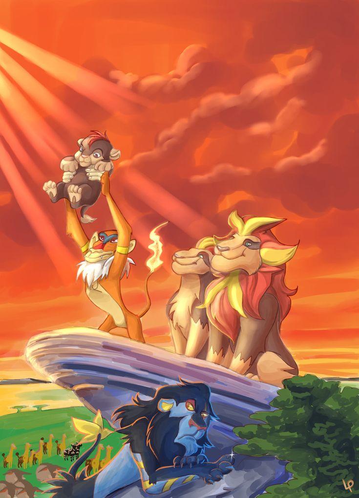 The Pyroar King by Lisosa.deviantart.com on @deviantART (Litleo, Monferno, Luxray, Girafarig & Zebstrika)