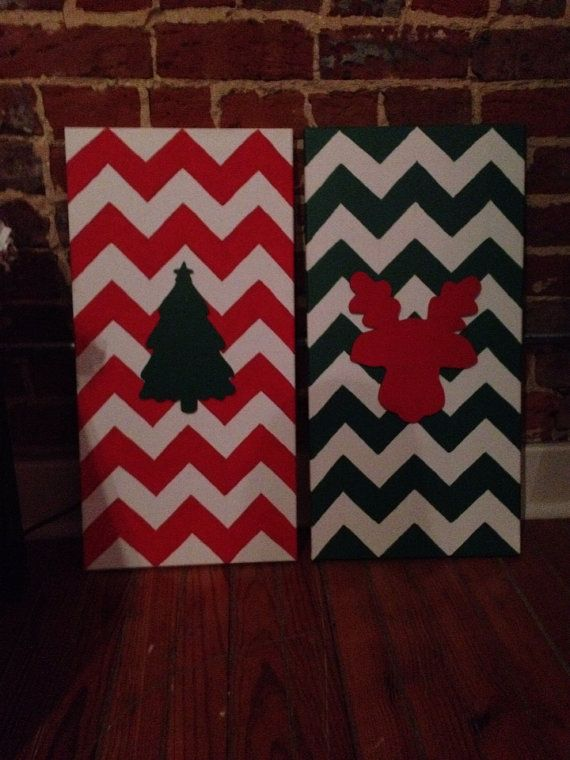 Set of 2 - Chevron Christmas Canvases on Etsy, $40.00