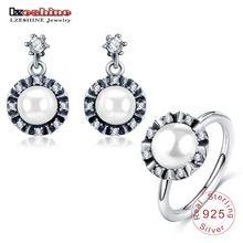 Lzeshine nuevo verano pendientes de gota/anillo de plata de ley 925 sistemas de la joyería de moda blanco perla bola de compromiso joyería psst0037-b(China (Mainland))