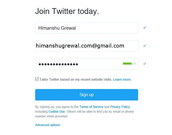 Twitter Account par sign-up kaise kare