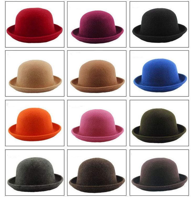 Vintage New Women Ladies Fedora Wool Felt Wide Brim Bowler Hat Bucket Cap #UnbrandedGeneric  10 each black