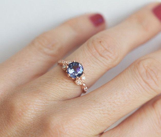 Tanzanite & Diamond ring - Capucinne - Pierścionki zaręczynowe