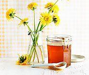 Löwenzahnhonig 250 g blühende Löwenzahnköpfchen, nur ausgezupfte Blüten- blätter (ergibt ca. 150 g)  1 l Wasser  1 Bio-Zitrone, abgeriebene Schale und 2 EL Saft  600 g Zucker
