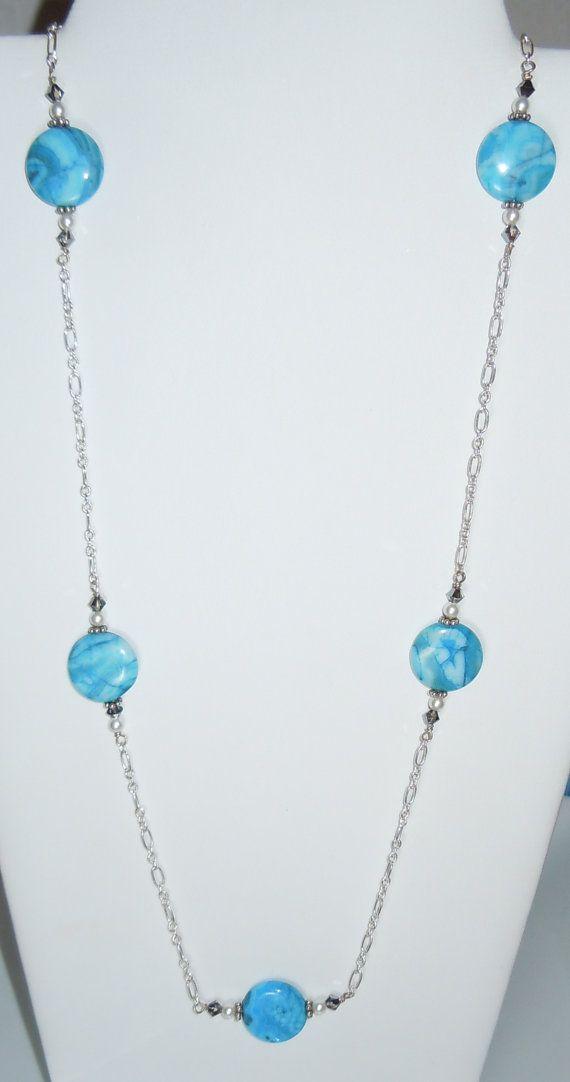 Swarovski Crystal Beads and Blue Agate Gemstone Necklace by BestBuyDesigns