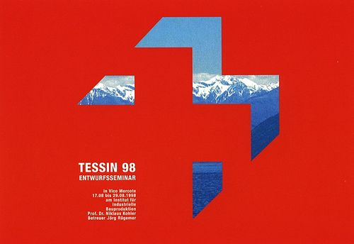 Tessin 98, Entwurfsseminar. Designed by Pepe Jürgens.   The Plakatwand 2002 exhibit. Image from Karlsruher Ikonotope 1992-2002.