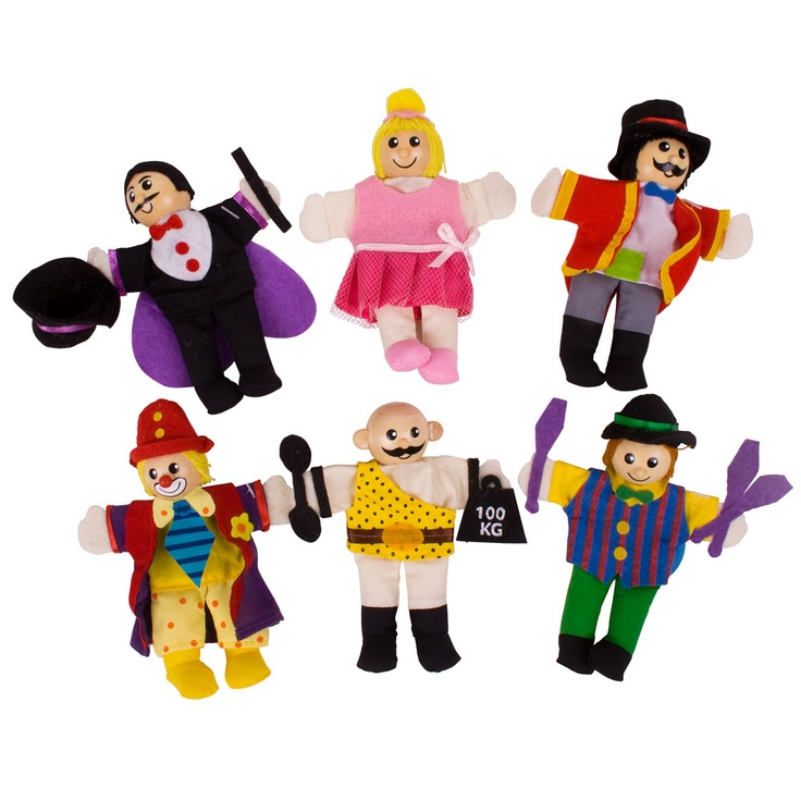 Our Entertainer Finger Puppets are great for little ones who love imaginative play. With our entertainers puppets you can put on a real circus with the worlds strongest man, the wonderful magician and colourful clown.