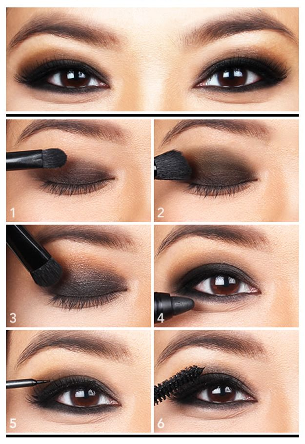 Pair it with any color for a more sexy look! | Black Eyeshadow Tutorial for Brow...