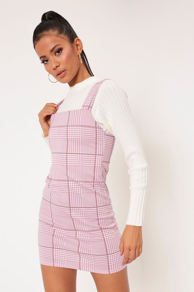 c50eeebb2e91 Pink check pinafore dress in 2019 | Woman Dresses | Check pinafore ...