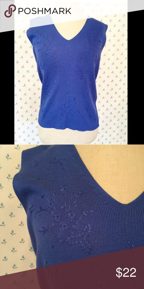 Carlisle Periwinkle Sweater Sleeveless sweater, beautiful subtle stitching, silk and cotton blend Carlisle  Sweaters V-Necks