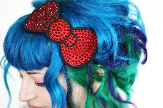 Bow Headband Red Bow Rhinestones by JanineBasil on Etsy, £45.00