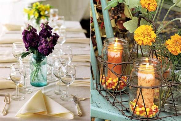 Simple tablescapes using Ball jars