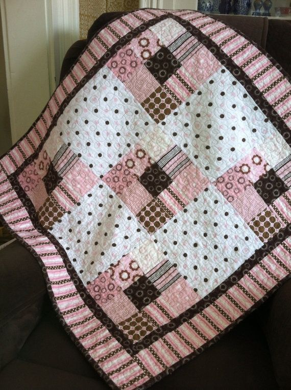 Baby girl quilt in pink and brown cotton flannel. Etsy post - no directions…
