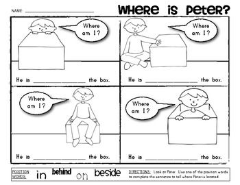 "Sample page from ""POSITIONAL WORDS Activity: Where Is Peter?""  $1.25"