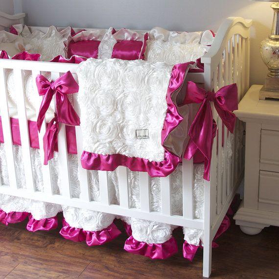 White and Hot Pink Crib Bedding Girl Baby by RitzyBabyOriginal