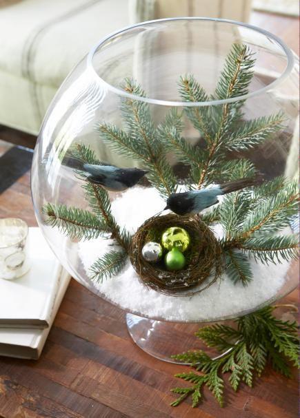 Winter birds scene in bowl: Natural Holidays, Decor Ideas, Winter Scene, Birds Nests, Easy Holidays, Decorating Ideas, Creative Decor, Holidays Decor, Christmas Decor