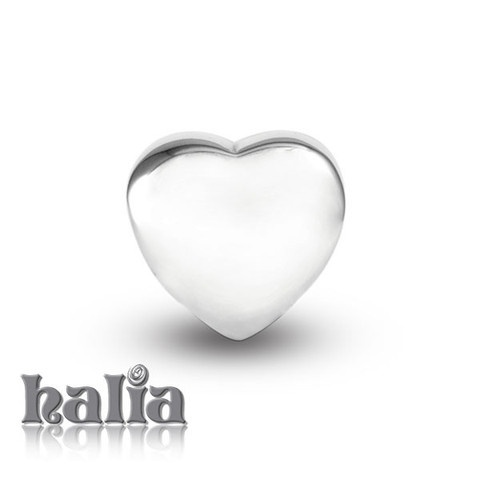 Untamed Heart: Pure and simple: a sterling silver high polish heart bead: designed exclusively by Halia, this bead fits other popular bead-style charm bracelets as well. Sterling silver, hypo-allergenic and nickel free.     $35.00
