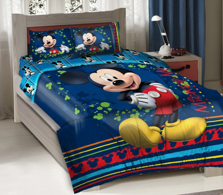 full size mickey mouse bedding | ... Disney Mickey Mouse Fun Bedding Comforter Set + Fitted Sheet, Full