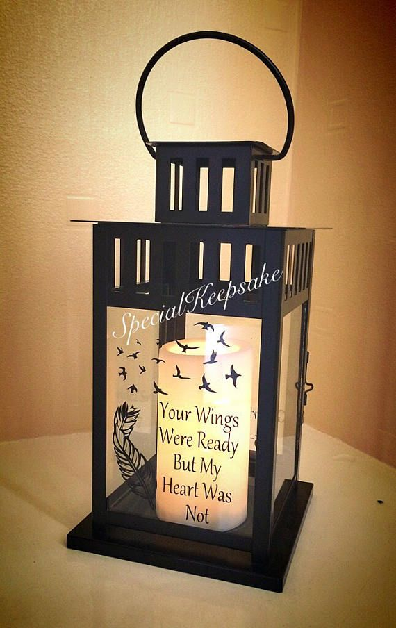 Personalised LED Candle Lantern Quote Memorial Heaven ...