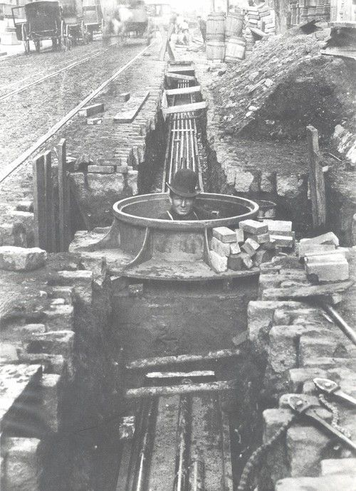 Lineman in a manhole, circa late 1800s/early 1900s.