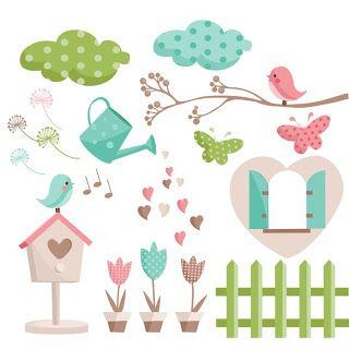 Jardim de Flores Rosa e Azul - Kit Completo com molduras para convites, rótulos para guloseimas, lembrancinhas e imagens!