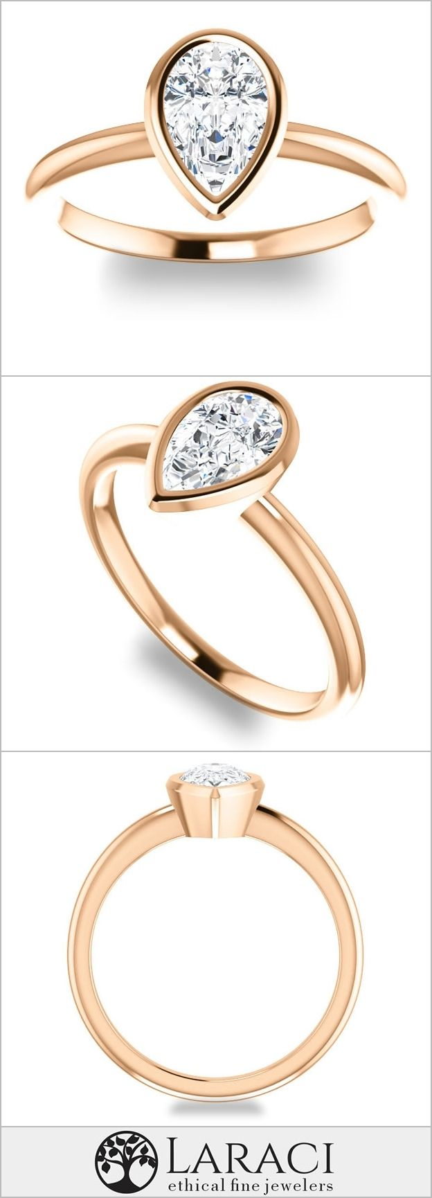14K Rose Gold Solitaire Bezel Engagement Ring set with a 0.94ct (8x5mm) Pear Forever Brilliant Moissanite