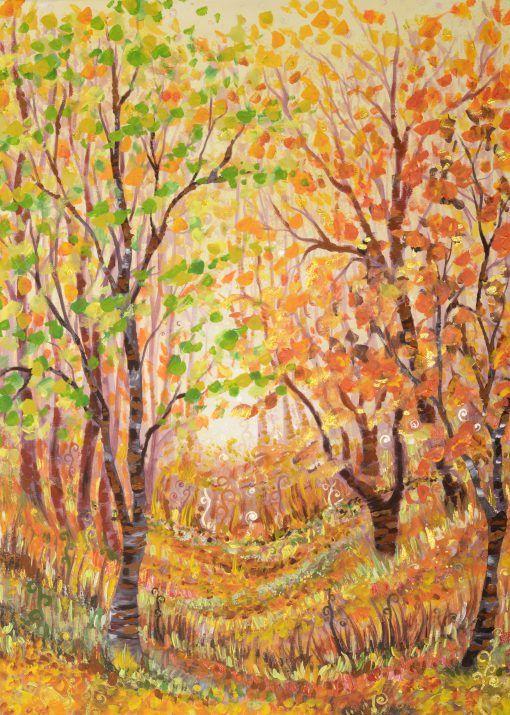 Akril festmény, mely vakrámára feszített vászonra készült. Fény hatására az arany, illetve a gyöngyház fehér festék különleges hatást ad a felületének. A festmény keret nélkül rendelhető meg, akár egyből a falra akasztható. Az aláírás a festmény sarkán, illetve a hátulján található.