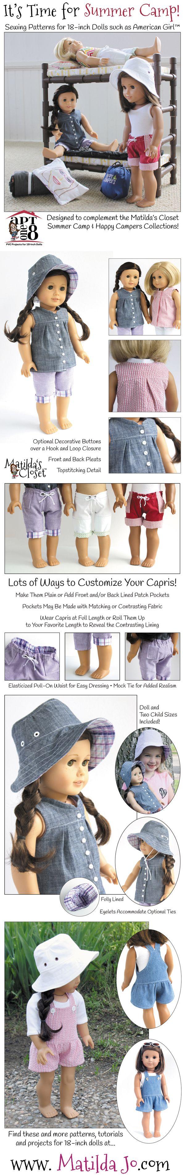 Summer Camp Collection 18-inch doll sewing patterns from Matilda Jo Originals, including roll-up capris, mock button-front shirt, bucket hat, shortalls and convertible bunk beds!