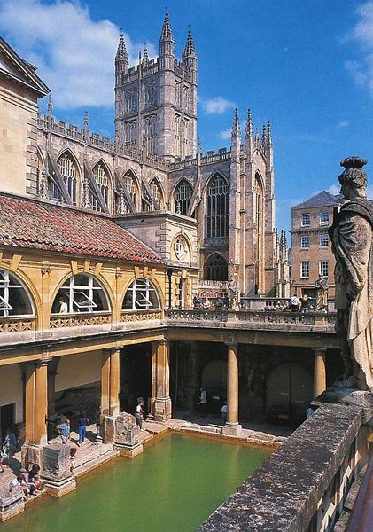 The old Roman baths in the English town of Bath. Aquae Sulis was a small town in the Roman province of Britannia. Today, it is known as Bath.The Romans probably began building a formal temple complex at Aquae Sulis in the AD 60s.They would have been attracted by the large natural hot spring which had been a shrine of the Celtic Brythons, dedicated to the Celts' goddess, Sulis.
