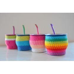 Funda Tejida A Crochet Con Base Termo Bala De 1 Litro Mate - $ 250,00