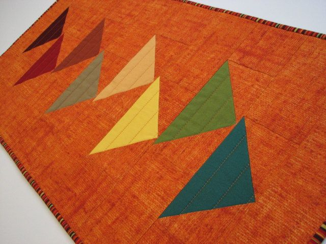 Quilted Table Runner , Modern Autumn Tones on Pumpkin Table Topper , Flying Geese Quilted Table Mat , Quiltsy Handmade by VillageQuilts on Etsy