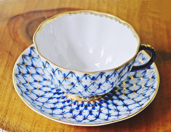 Lomonosov Teacup And Saucer Cobalt And Gold Cup And Saucer