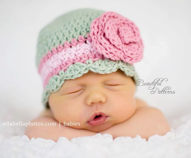 Crochet Newborn Hat : Crochet Hat Pattern Baby Crochet Hat Flapper Beanie with Rose PDF 100 ...