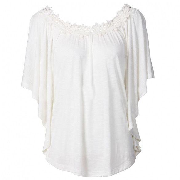Stylish Lady Womens Fashion Casual Batwing Sleeve Lace Neck Sexy Blouse Shirt Top