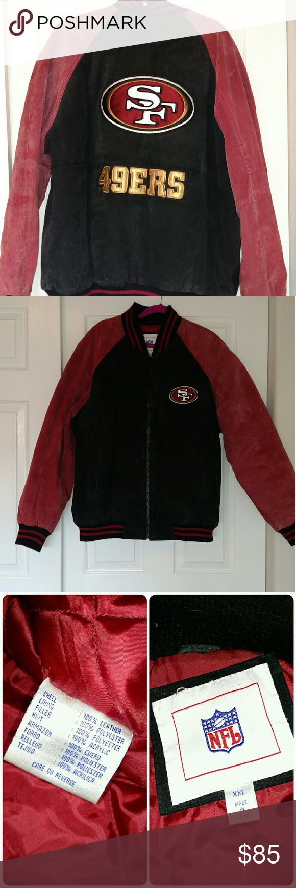 NFL Suede 49ers Jacket Gently worn NFL Suede Leather 49ers jacket. Logo on front, large logo on back. Black and red elastic bands at wrists, neck and bottom. Shows some wear on suede around neck and by zipper (see last pics). Lined in red. Has been hanging in basement closet for many years, so smells stale, but otherwise clean. NFL Jackets & Coats