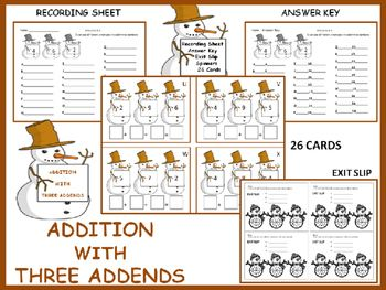 Write an addition story using three addends