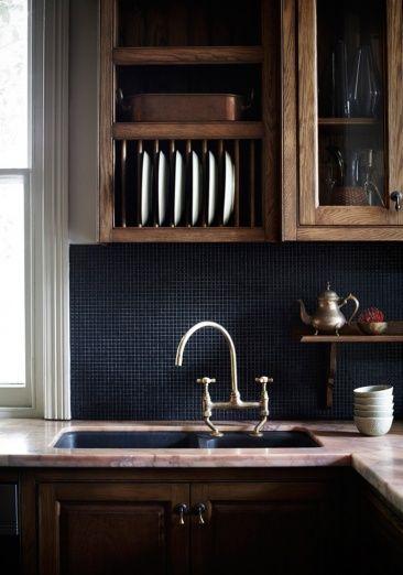 Reliable wood kitchen with black mosaic backsplash , http://www.interiordesign-world.com/kitchen/reliable-wood-kitchen-with-black-mosaic-backsplash/
