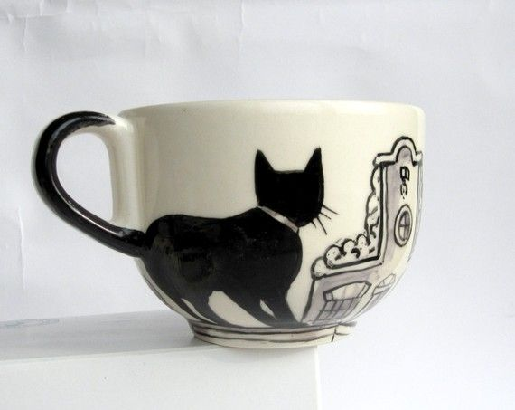 Cat Mug by Harriet Damave (Etsy)