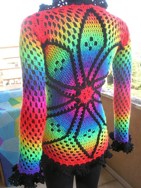 Rainbow Crochet Doily Cardigan With Black Lace