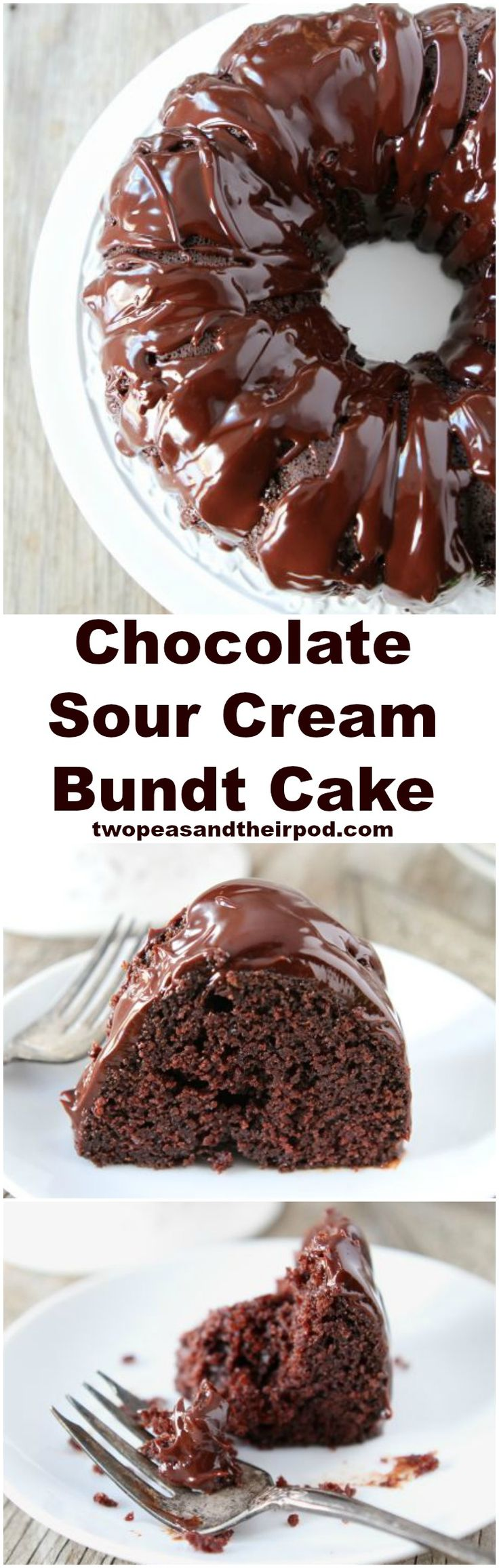 Chocolate Sour Cream Bundt Cake Recipe on twopeasandtheirpod.com The BEST chocolate cake recipe and it's so easy to make! Everyone LOVES this cake!