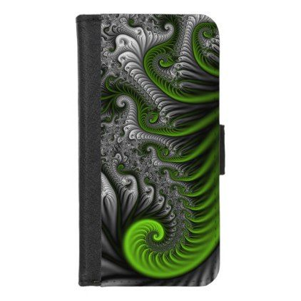 Fantasy World Green And Gray Abstract Fractal Art iPhone 8/7 Wallet Case - diy cyo personalize design idea new special custom