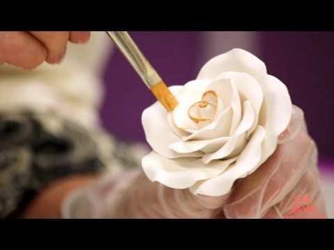 How to Decorate a Golden Sugar Rose | Cake Tutorial