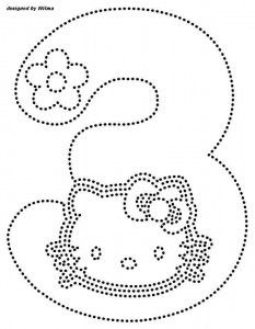 hello kitty number 3 trace worksheet
