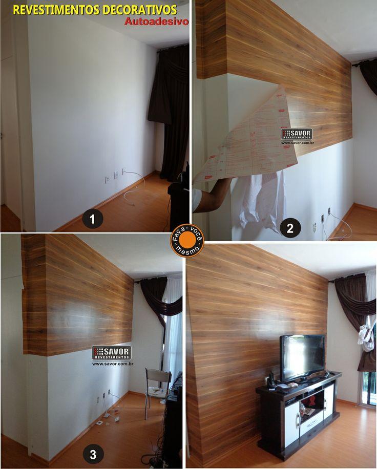 Transforme sua parede usando adesivo vinílico que imita madeira.  Confira em www.savor.com.br