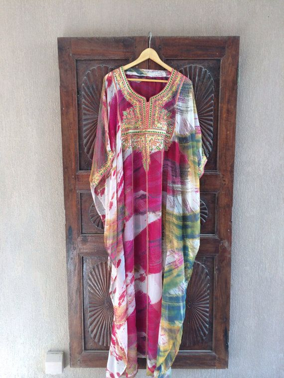 This handmade sheer chiffon painterly print caftan makes a flirty and whimsical dressing option for any occasion. Custom handmade from only the